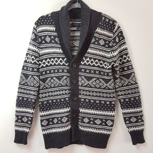 Forever 21 MEN black and white wool cardigan small